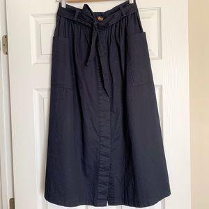 A-line Navy Midi Skirt